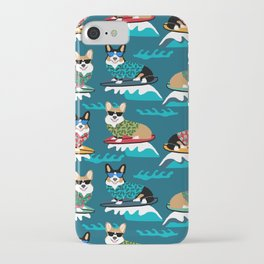 Surfing Corgis Dog summer beach hang 10 catch a wave summer dog pattern iPhone Case