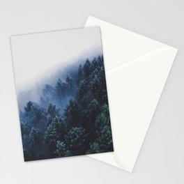 Foggy Blue Purple Mountain hill Pine Trees Landscape Nature Photography Minimalist Modern Art Stationery Cards