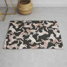 Abstract black rose gold glitter marble cat pattern Rug