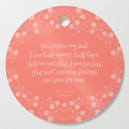 Jane Austen Persuasion Floral Love Letter Quote Cutting Board