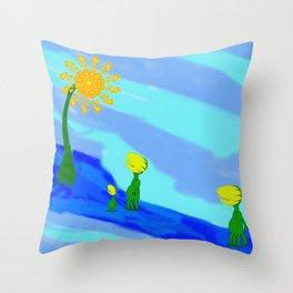 Little Plant Folk Throw Pillow