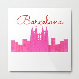 Barcelona Pink Cityscape Metal Print