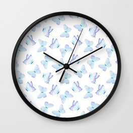 Hand painted pastel teal lavender watercolor butterflies Wall Clock