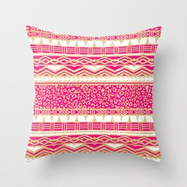 Modern neon pink faux gold glitter aztec leopard Throw Pillow