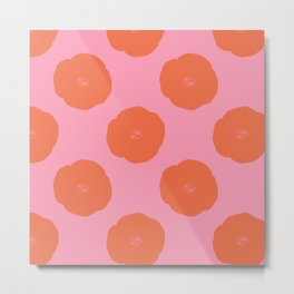 Pink and Orange Vintage Floral Block Print Pattern Metal Print