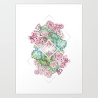 leah flores Art Prints featuring Flores by Barlena