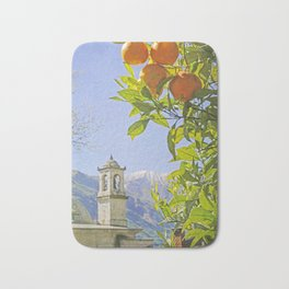 Oranges, Blue Sky, and Mountains in Northern Italy Bath Mat