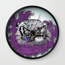 White Tiger Painter Wall Clock