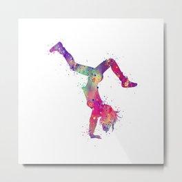 Hip-Hop Girl 3 Art Colorful Purple Watercolor Gift Hip-Hop Dance Art Hip-Hop Dancer Choreography Art Metal Print