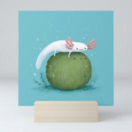 Axolotl on a Mossball Mini Art Print