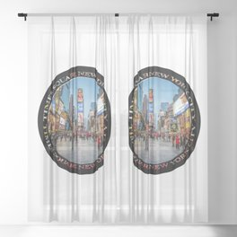 Times Square Sparkle (badge on black) Sheer Curtain