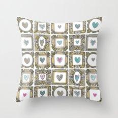 love heart frames Throw Pillow