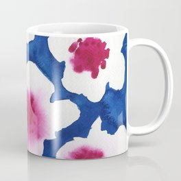 Splendor -dark blue and pink floral watercolor Coffee Mug