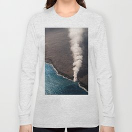 Kamukona molten hot lava stream sprouting into the Pacific Ocean in Hawaii Long Sleeve T-shirt