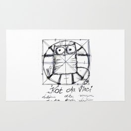 Kot da Vinci (black and whie) Rug