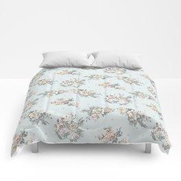 Pastel blue brown pink vintage roses polka dots pattern Comforters