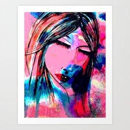Dream of a woman on a winter night Art Print