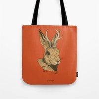 jackalope Tote Bags featuring The Jackalope by Black Bear / White Bear