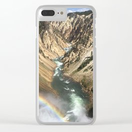 Rainbow over the Yellowstone Canyon Clear iPhone Case
