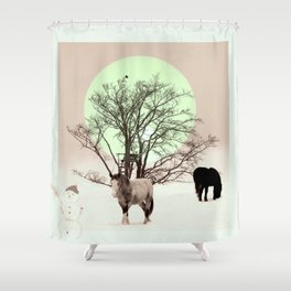 Winter horses Shower Curtain