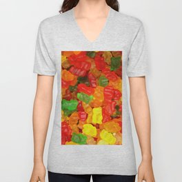 red orange yellow colorful gummy bear Unisex V-Neck