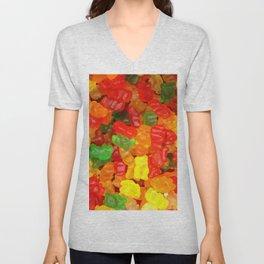 red orange yellow colorful gummy bear Unisex V-Neck