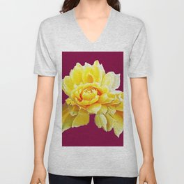 Burgundy Color Yellow Rose Flower Art Design Pattern Abstract Art Garden Unisex V-Neck