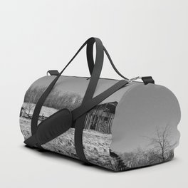 Days Gone By - Old Arkansas Barn in Black and White Duffle Bag
