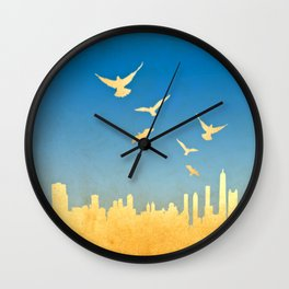 Grunge image of cityscape with birds Wall Clock