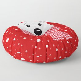 Muzzle of a polar bear on a red background. Floor Pillow