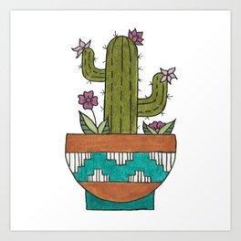 Flowering Kingcup Cactus Illustration - Potted Cacti Design Art Print