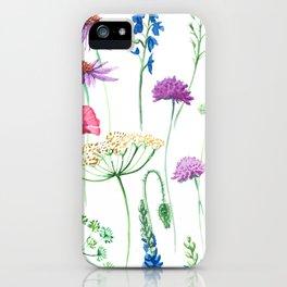 Watercolor wildflowers pattern. iPhone Case
