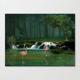 Flamingo forest Canvas Print