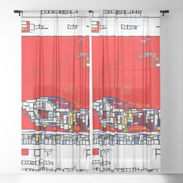 Spinner Cubism Sheer Curtain