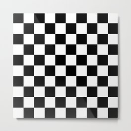 Checkered Pattern: Black & White Metal Print