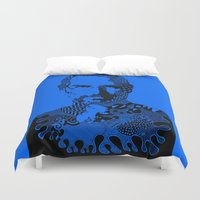 steve jobs Duvet Covers featuring Steve Jobs blue by Rebecca Bear