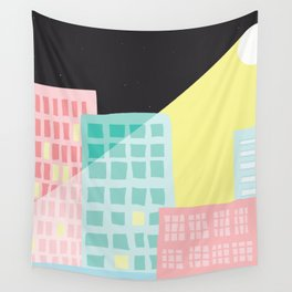 Moonlit Cityscape Wall Tapestry