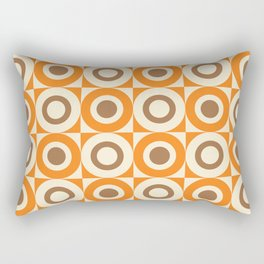 Mid Century Square and Circle Pattern 541 Orange and Brown Rectangular Pillow