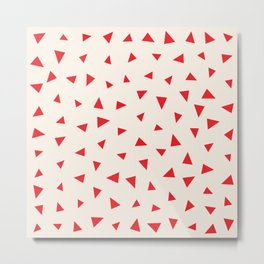 Red Triangles Holiday Pattern Metal Print