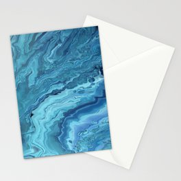 Teal Geode: Acrylic Pour Painting Stationery Cards