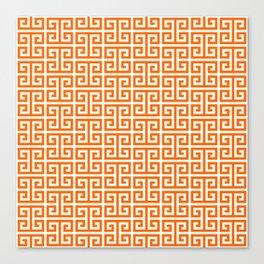 Orange and White Greek Key Pattern Canvas Print