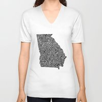 georgia V-neck T-shirts featuring Typographic Georgia by CAPow!