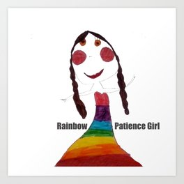 Rainbow Patience Girl Kids Art Print