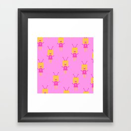 Happiest Little Robot (pink) Framed Art Print