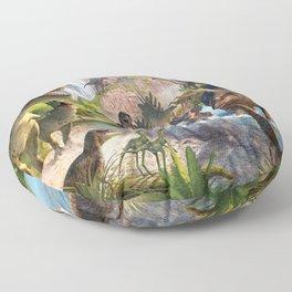 Jurassic dinosaurs in the river Floor Pillow