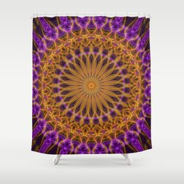Pretty violet and golden mandala Shower Curtain