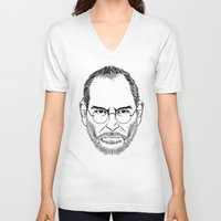 steve jobs V-neck T-shirts featuring STEVE JOBS PORTRAIT by Xiang