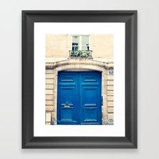 Paris door, blue Framed Art Print