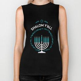 Shalom Y'all Hanukkah Menorah Biker Tank
