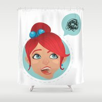 redhead Shower Curtains featuring redhead bla by adi katz